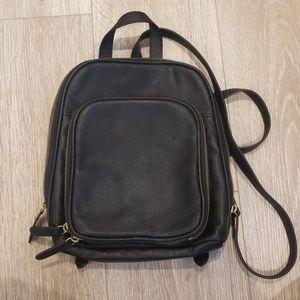 Black Leather Margot Backpack